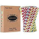MELLIEX 200PCS Pajitas de Papel biodegradables Pajitas de Papel de Colores Pajitas Desechables para cumpleaños, Bodas…
