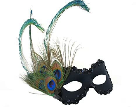 779c4b91be32 Image Unavailable. Image not available for. Color: Success Creations  Peacock Paradise Black Masquerade Mask for Women