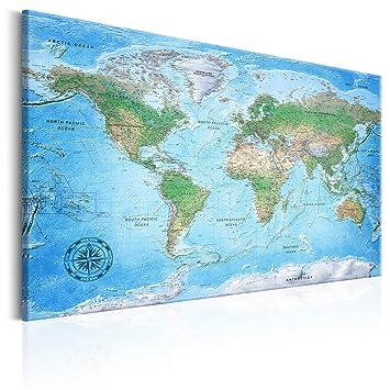 Decomonkey XL 90x60 Cm Pinnwand Kork 1 TLG. Weltkarte Leinwand Bilder  Wanddeko Wandbild 100%