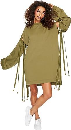 b4d12fb2e04 PUMA Women s Fenty Staggered Hem Sweatshirt Olive Branch Small ...