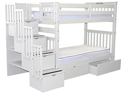 Bedz King Tall Stairway Bunk Beds Twin Over Twin With 4 Drawers In The  Steps And