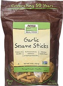 Now Foods Sesame Sticks, Garlic, 9-Ounce