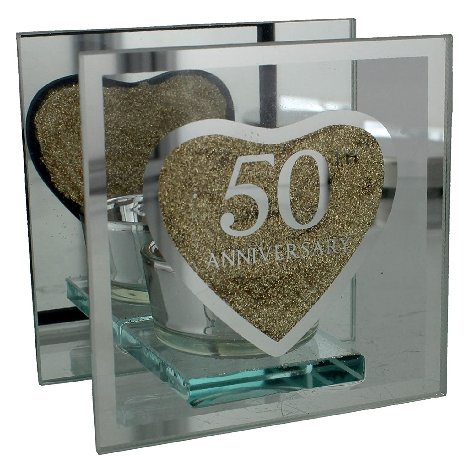 NGC Golden 50th Wedding Anniversary Tealight Holder Mirrored Glass