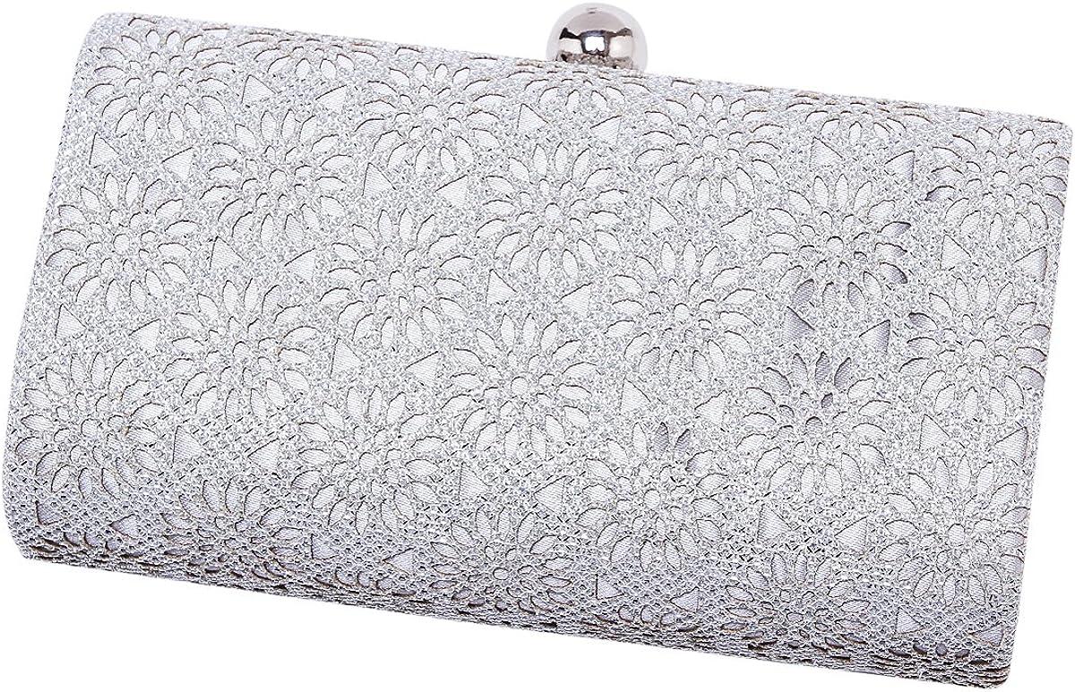 Damara Womens Shining Flower Hollow Out Evening Bag Clutch Handbag