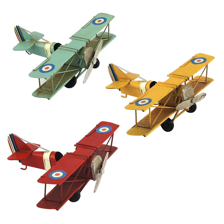 L 14 cm Bleu Ciel G/&S Petit Avion Miniature m/étal Vintage