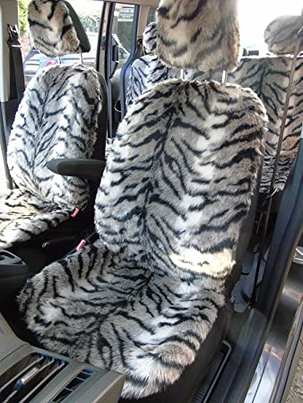R Suitable For Ford Ka Car Seat Covers Tiger  Faux Fur