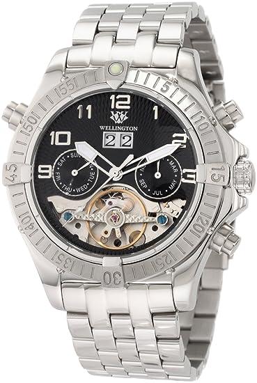Wellington WN101-121 - Reloj analógico de caballero automático con correa de acero inoxidable plateada - sumergible a 50 metros: Amazon.es: Relojes