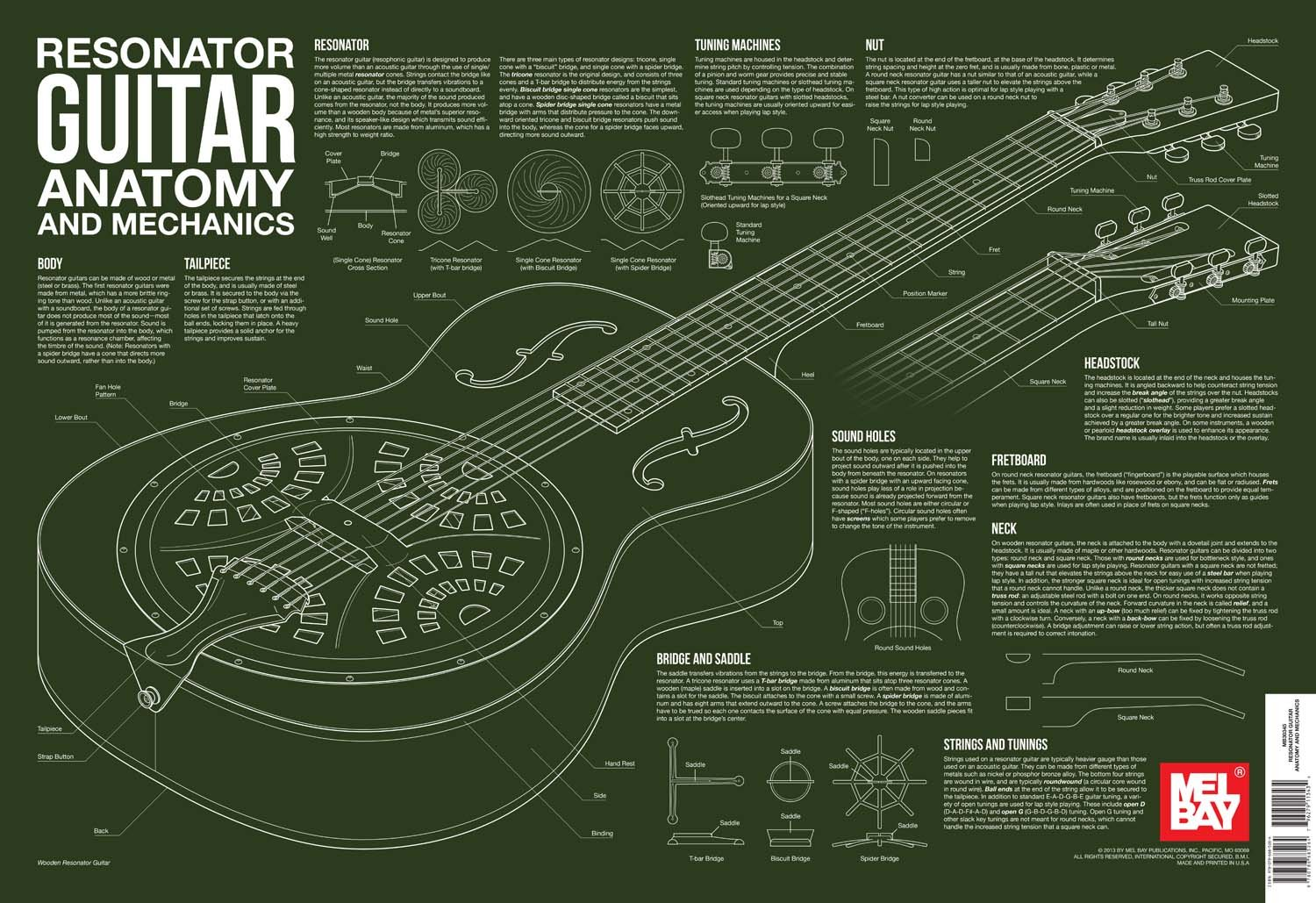 Resonator Guitar Anatomy and Mechanics Wall Chart (Anatomy Wall ...