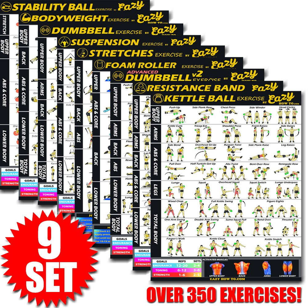 Eazy How To 9 Pack Bundle Exercise Workout Poster BIG 28 x 20'' Train Endurance, Tone, Build Strength & Muscle Home Gym Chart - Premium