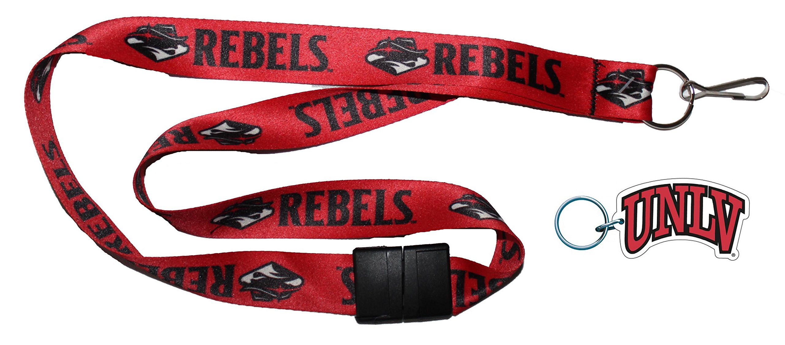 University of Nevada Las Vegas UNLV Rebels Lanyard with Safety Breakaway Clasp and Key Ring Gift Set