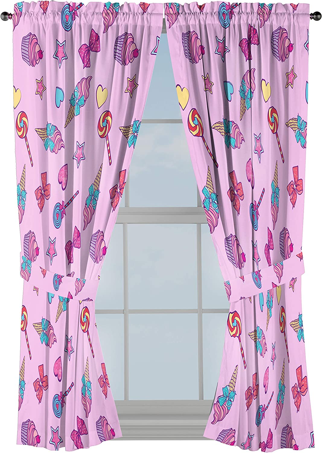 "Jay Franco Nickelodeon JoJo Siwa Dream Believe 63"" inch Drapes 4 Piece Set - Beautiful Room Décor & Easy Set up - Window Curtains Include 2 Panels & 2 Tiebacks (Official Nickelodeon Product)"