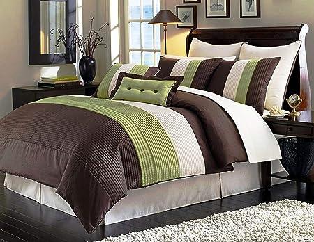 Legado decoración 8pcs moderna marrón verde y beige colcha