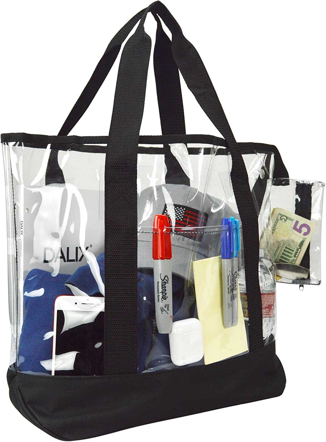 20 Large Clear Tote Bag with Small Pouch