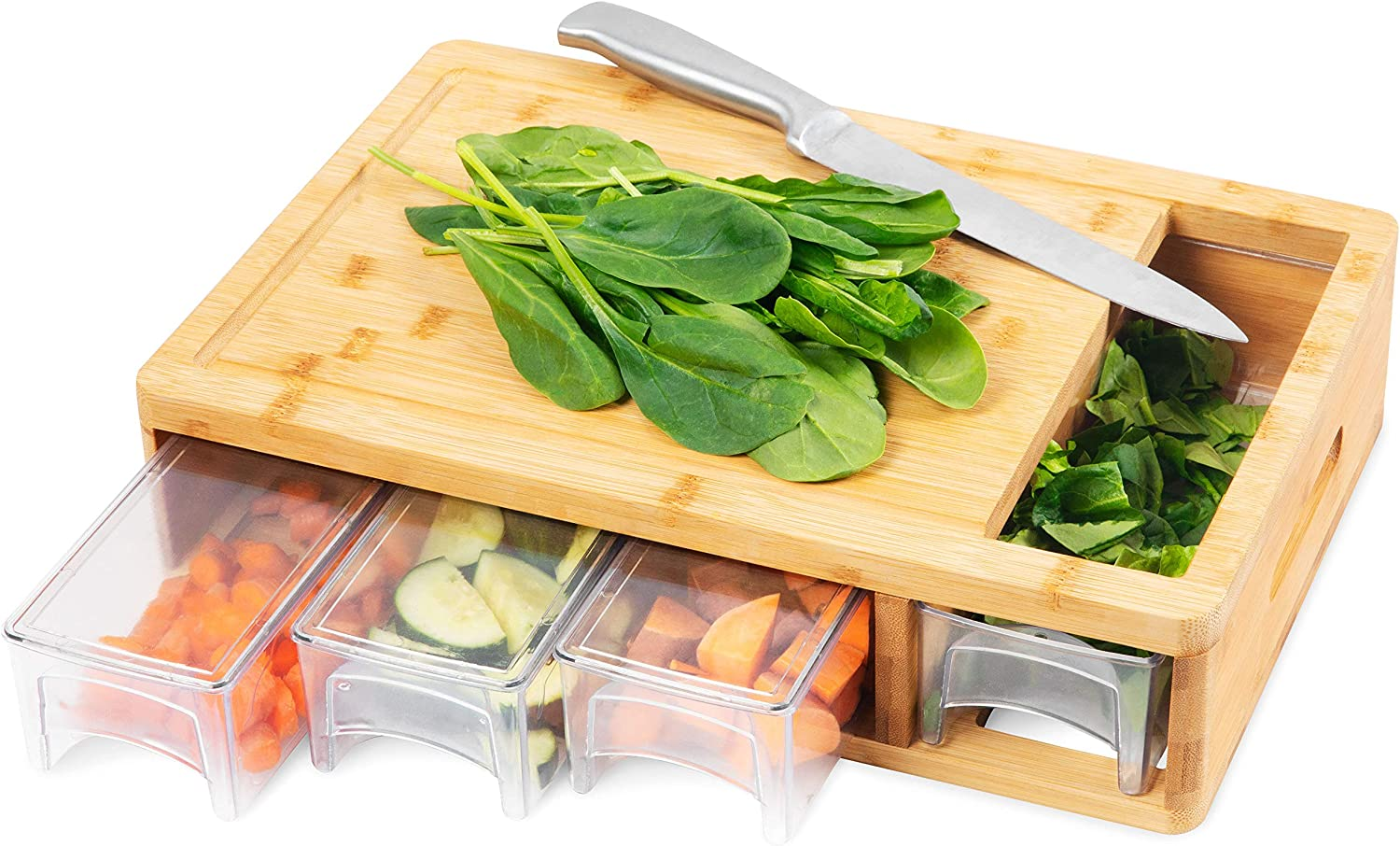 Bamboo Cutting Board With Trays and LIDS. Multi-functional: 4 draws can be used as PREP DISHES or for STORAGE.