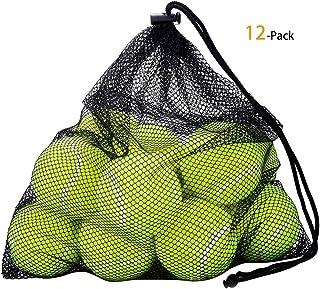 Outtybrave Palline da Tennis 12 Pack, Alta Rimbalzo Durevole Cane morde Palla Giocattolo per la Pratica gettando Macchine Animali Domestici Formazione con Sacchetto di Trasporto della Maglia