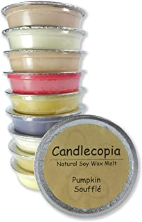 product image for Candlecopia Vanilla Hazelnut, Pumpkin Soufflé, Seriously Cinnamon, Baked Apple Pie and More! Strongly Scented Hand Poured Premium Natural Soy Wax Melt Cups, 12.5 Ounces in 10 x 1.25 Ounce Sealed Cups