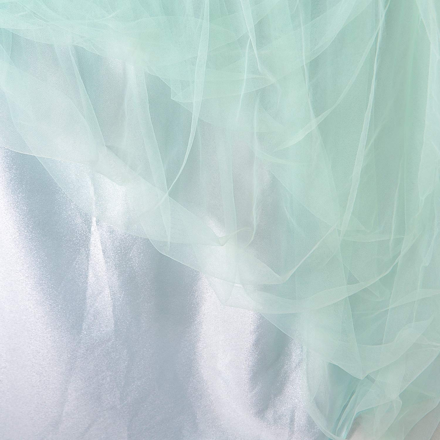 Suppromo High-end Gold Brim 3 Layer Mesh Fluffy Tutu Table Skirt Tulle Tableware for Party,Wedding,Birthday Party&Home Decoration (L14(ft) H 30in, Mint Green)