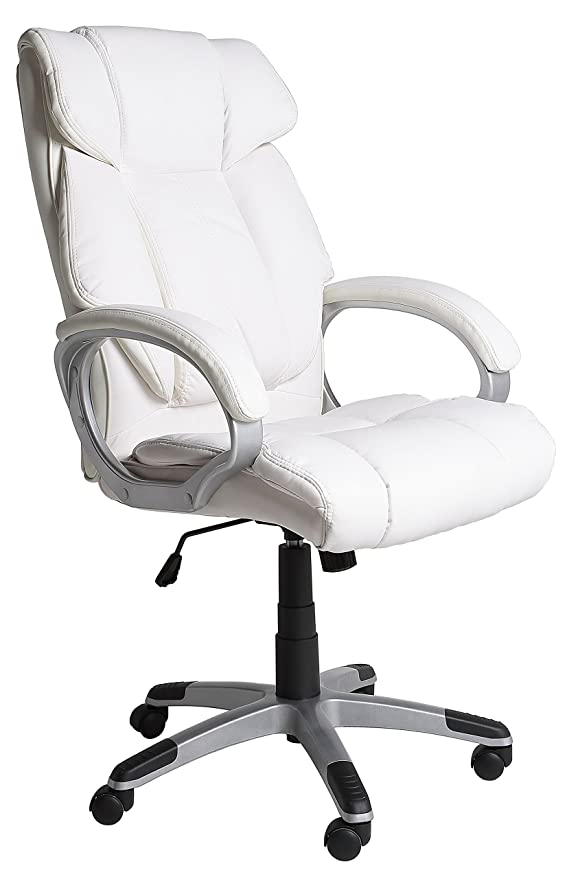 VS Venta-stock Confort - Sillón de oficina, piel sintética, color blanco