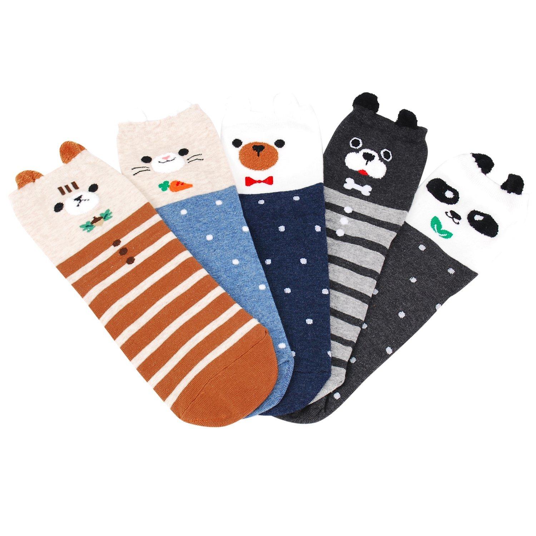 OkieOkie Calze da donna Best gift set-cute animali arte dei cartoni animati divertente novit/à Crew