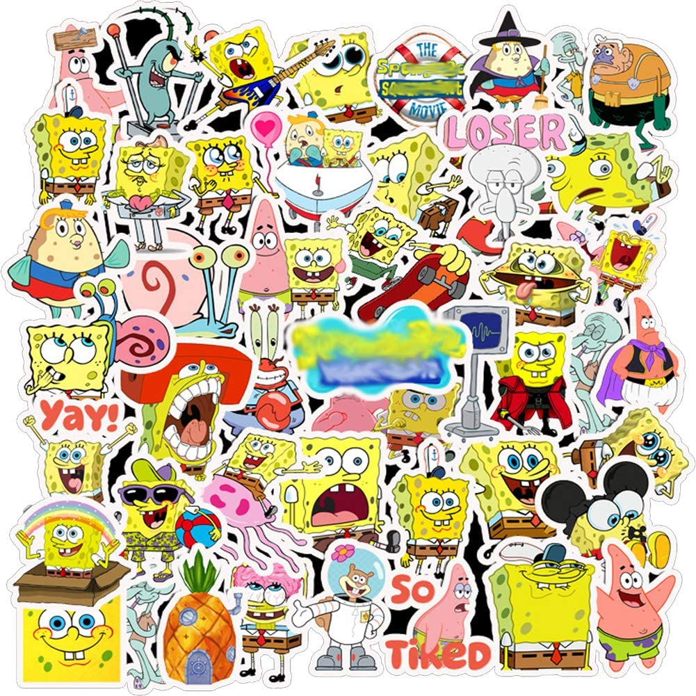 Sponge Stickers for Water Bottles,Waterproof Cartoon Vinyl Stickers for Water Bottle and Laptop DIY Decorative Gift(50pcs)
