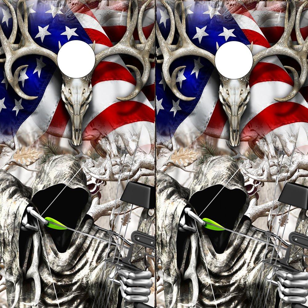 Speed DemonホットロッドShop Cornholeボードラップ~アメリカ国旗Buck Bow Reaper雪Buck Obliteration Corn穴ボードラミネートデカールWraps (Set of 2 ) boamb107cb B07DQV4YGW