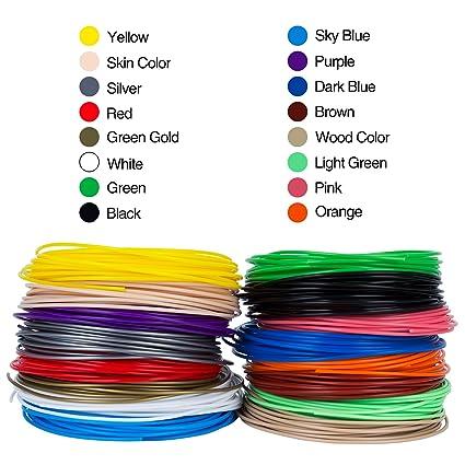 srol-3d Pen Filamento, 16 diferentes colores de alta precisión ...