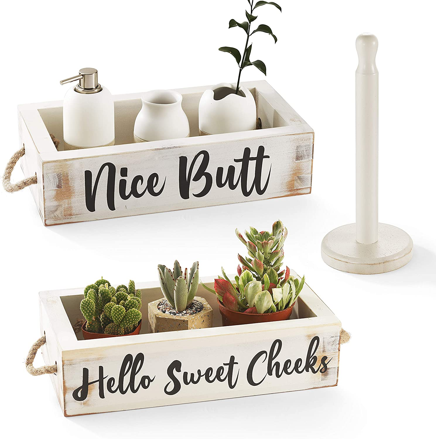 CABASAA Nice Butt Bathroom Decor Box, 2 Sided Funny Toilet Paper Holder, Farmhouse Rustic Wood Organizer, Funny Home Decor, Wooden Crate with Rope Handles (White)