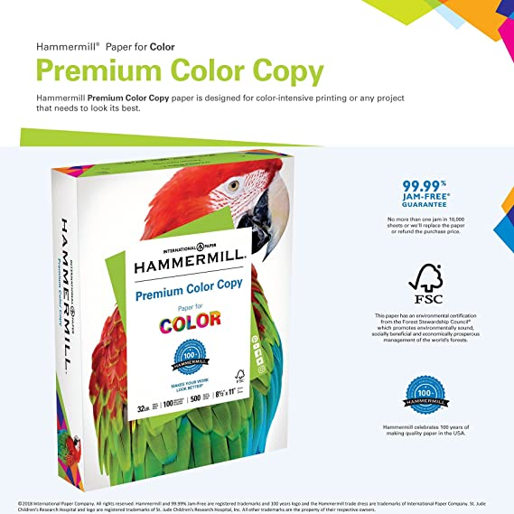 Amazon Hammermill Paper Premium Color Copy 85 X 11 Letter Size 32lb 100 Bright 1 Ream 500 Sheets 102630R Acid Free