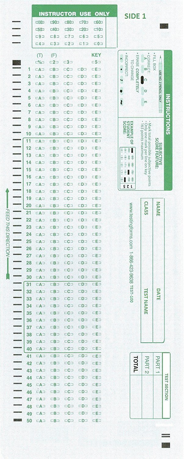 photograph regarding Printable Scantron Form identify Try out-100E 882 E Suitable Screening Sorts (50 Sheet Pack)