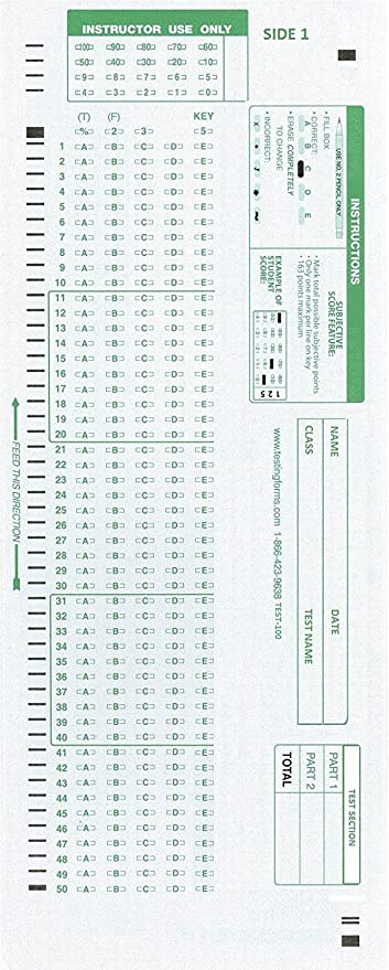 photo relating to Free Printable Scantron Bubble Sheet called Look at-100E 882 E Appropriate Screening Sorts (500 Sheet Pack)