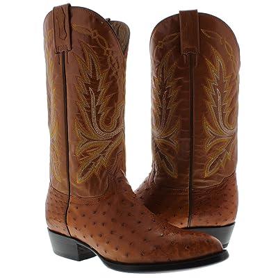 El Presidente - Men's Cognac Genuine Ostrich Quill Skin Cowboy Boots J Toe