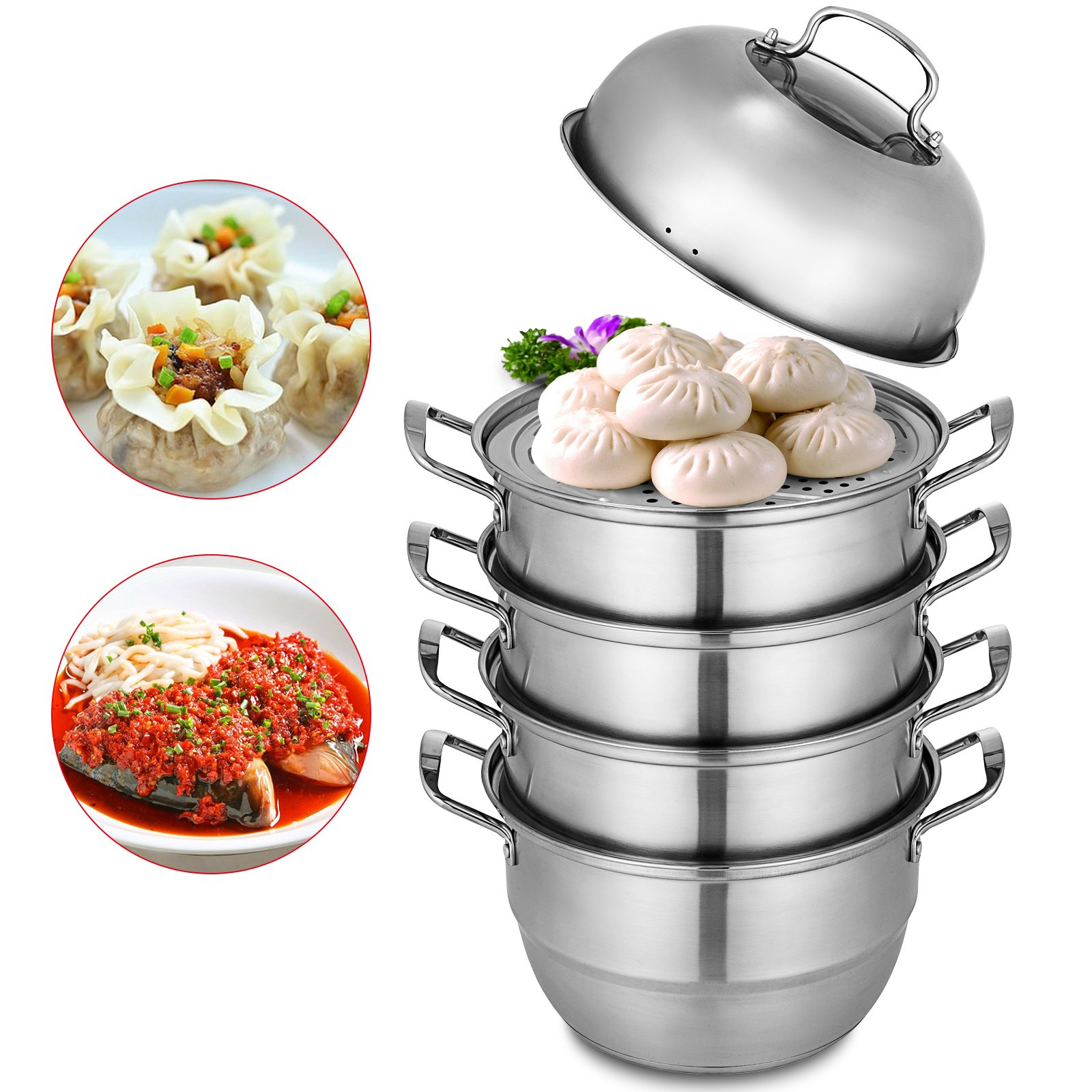 VEVOR Dumpling Steamer Stainless Steel 5 Titer Stainless Steel Steamer Work with Gas Electric Grill Stove Top (Dia 30cm/11.8inch)