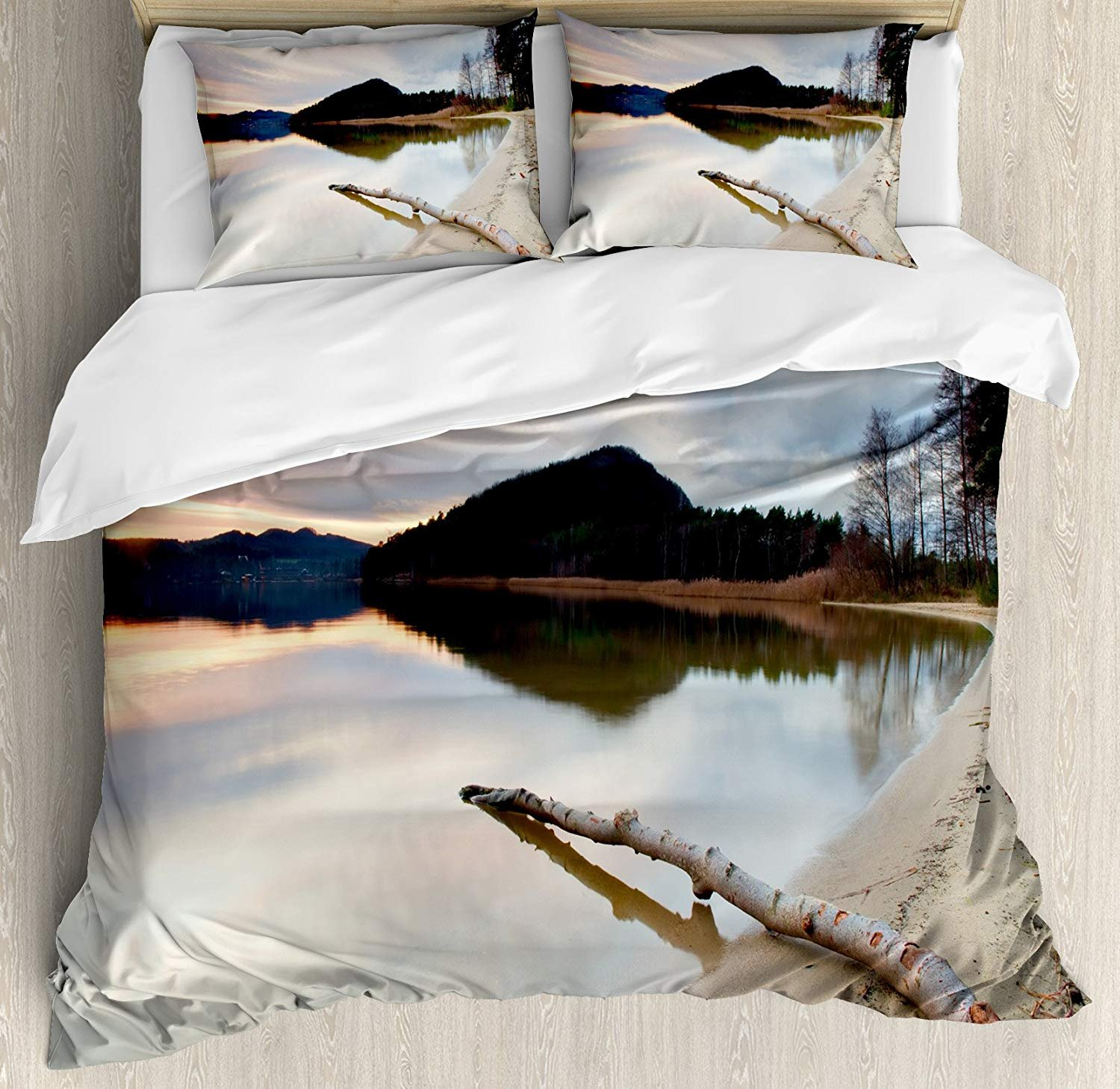 Driftwood Bedding Duvet Cover Sets for Children/Adult/Kids/Teens Twin Size, Landscape of Lake Shoreline with The Dead Tree Trunk in The Water Digital Print, Hotel Luxury Decorative 4pcs, Sand Brown