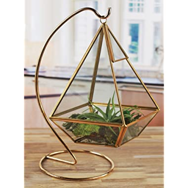 """Circleware 32508 Terraria Glass Gold Frame Terrarium with Stand Home Decor Flower Balcony Display Box and Garden Gifts 6.3"""" x 8.27"""", Traingle 6.3x8.7"""