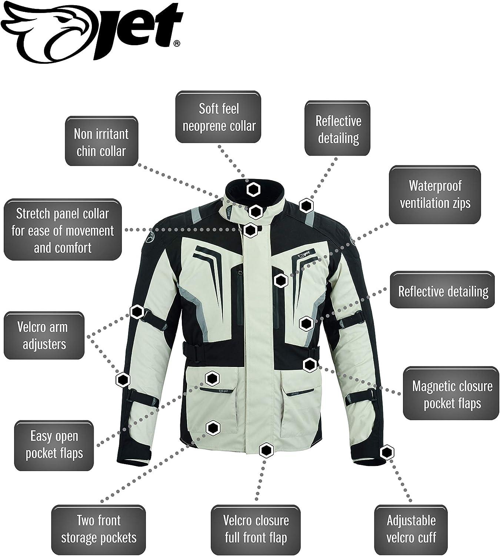 M, Negro Plata JET Chaqueta Moto Hombre Tasche Magnetiche Textil Ventilaci/ón Protectores Reflexivo Verano Invierno STORMER