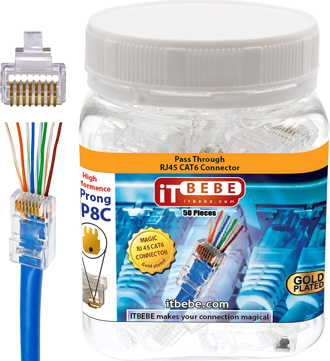 100 Pieces Total ITBEBE Gold-Plated Pass Through RJ45 Cat6 3-Prong Connectors and Cable Strain Relief 50//50 Kit for Clean Snag-Free Patch Cords