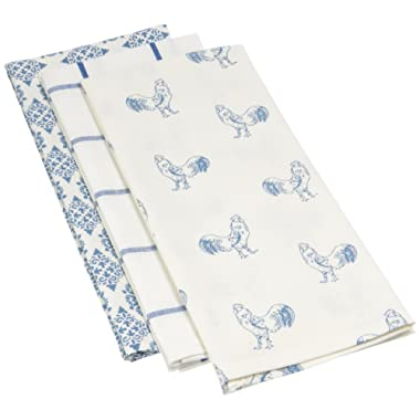 Mahogany Rooster Kitchen Towel, 18 by 28-Inch, Blue, Set of 3