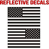 """Classic Biker Gear Ghosted subdued American flag car decal, silver with ghosted black print, 1.8"""" X 3"""", pair, Hard Hat, lunch box, vinyl decal car sticker"""