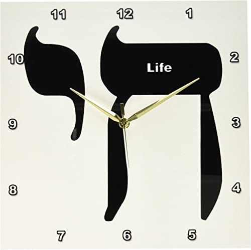 3dRose dpp_57603_2 Hebrew for Life Chai-Wall Clock, 13 by 13-Inch