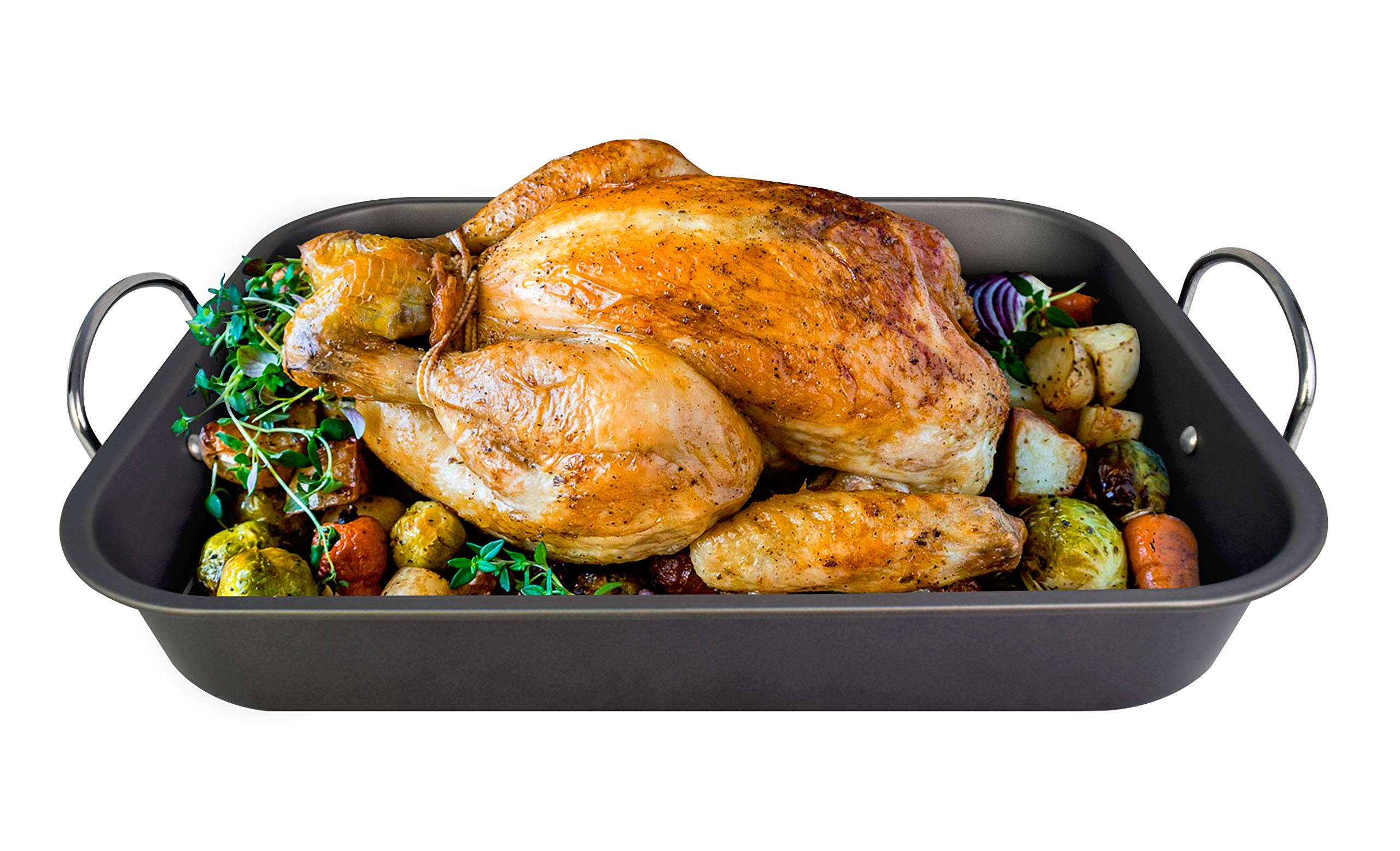 LE REGALO HW1223 Roasting Pan Set with Rack, Moderate, Black