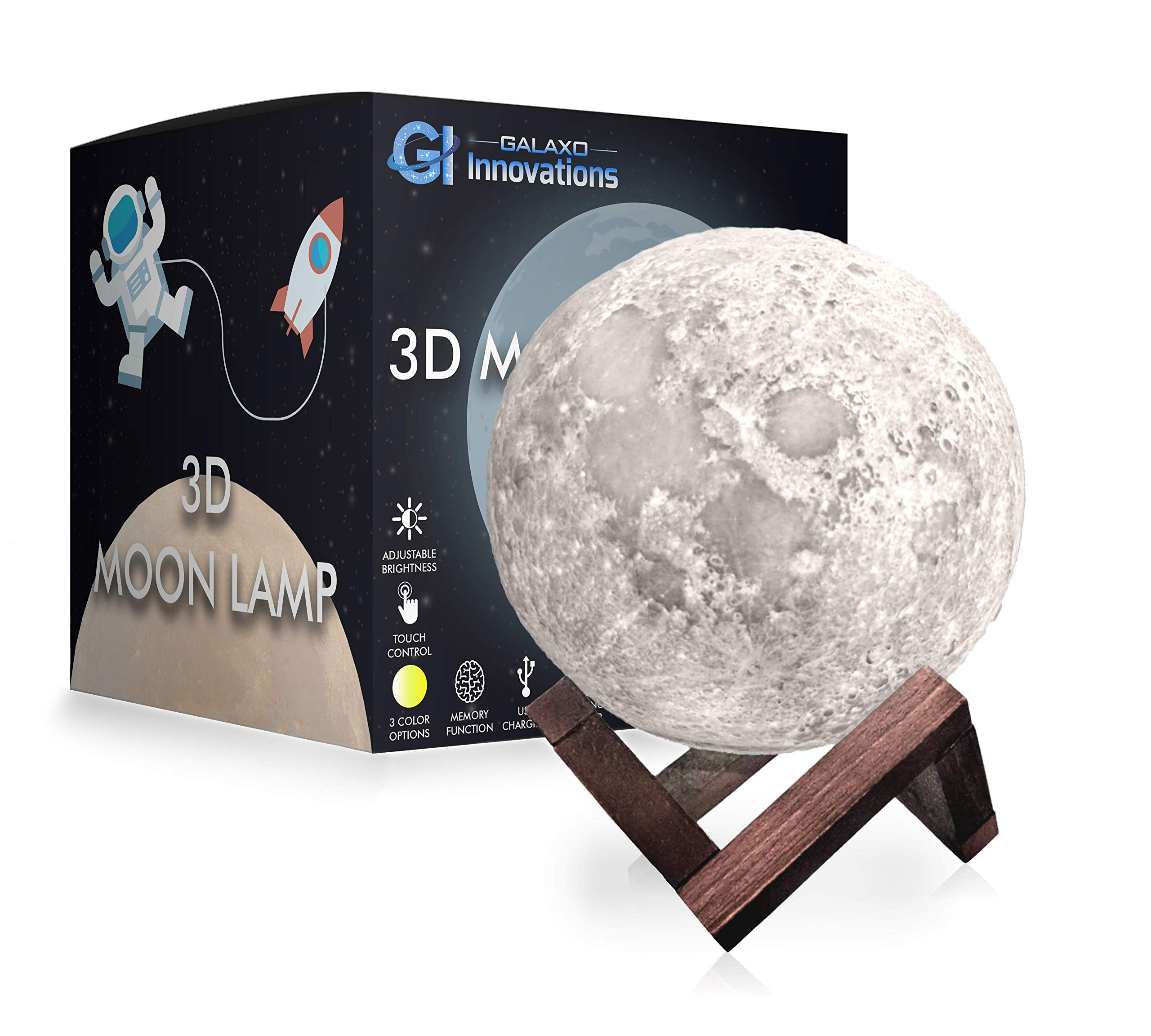 Galaxo 3D Moon Lamp 5.9 inch with Dark Wooden Stand, 3 LED Color Options, Adjustable Brightness, Touch Control, USB Charging, Gift Box, Modern Lunar Night Light