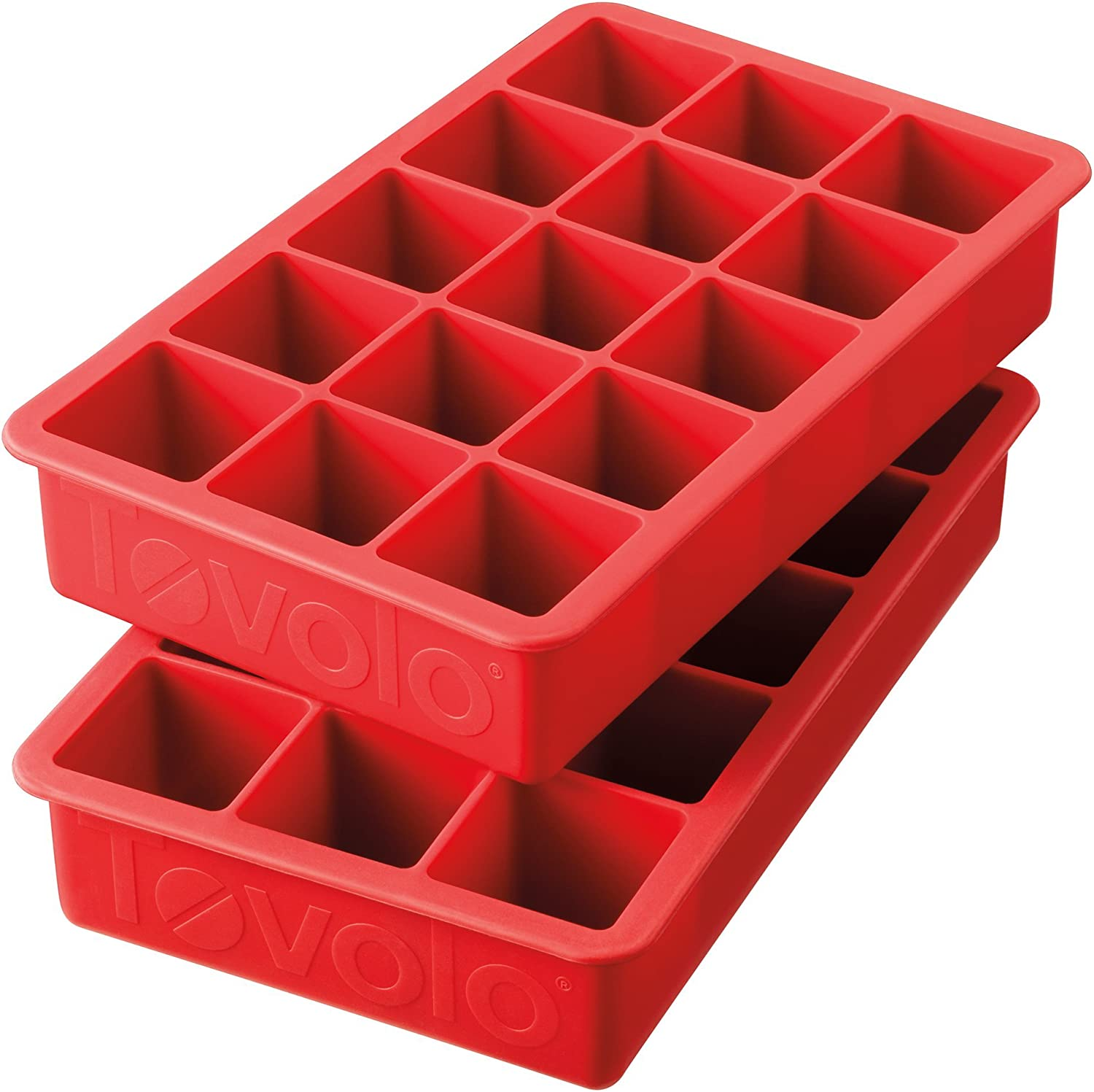 """Tovolo Perfect Cube Ice Mold Trays, Sturdy Silicone, Fade Resistant, 1.25"""" Cubes, Set of 2, Candy Apple Red"""