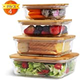 Max K Glass Food Storage Containers with Bamboo Lids - Zero-Plastic Lunch Boxes with Airtight Covers & Leak-Proof Silicone Seal - Wooden Tops Double as Cutting Boards - Safe, Sustainable Kitchen Ware