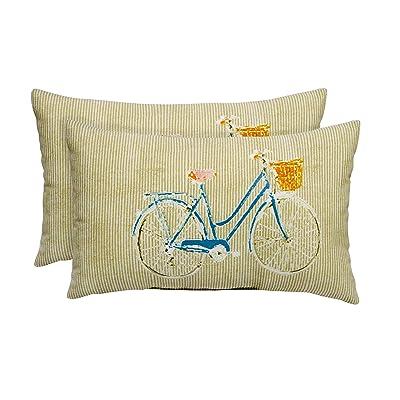 RSH Decor Set of Indoor/Outdoor Decorative Throw/Toss Printed Pillows (2, Tan & Teal Bicycle) : Garden & Outdoor