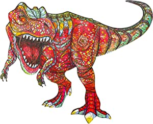 AAGOOD Wooden Jigsaw Puzzles for Adults, Unique Shape Jigsaw Pieces Dinosaur(pro), Best Gift for Adults and Kids, 8.3×9.5 inches, Medium