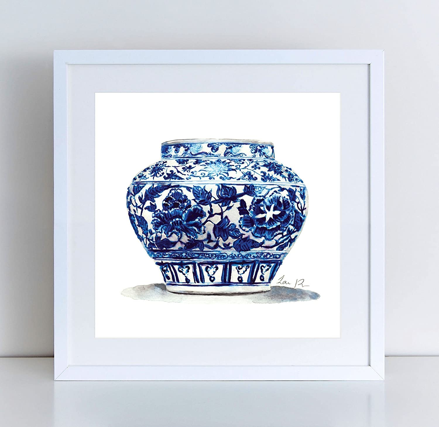 ec6ff9a06eb Blue and White China Art Jar 14 Ginger Jar Print Chinoiserie Chic Art Asian  Decor Chinese Art Ginger Jar Painting Gift for Her Preppy Art Pretty  Watercolor ...