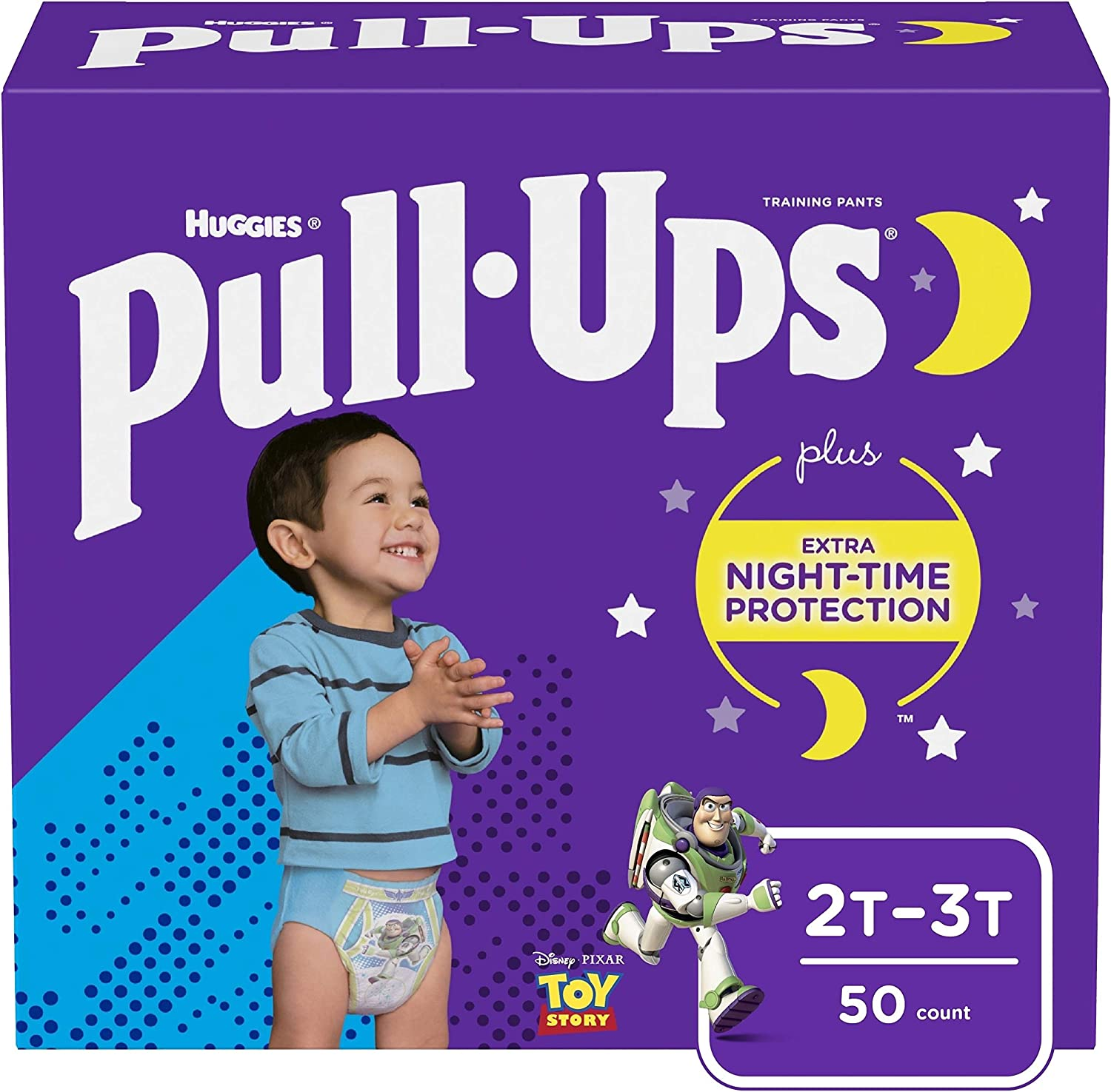 Pull-Ups Night-Time Potty Training Pants for Boys, 2T-3T (18-34 lb.), 50 Count (Packaging May Vary)