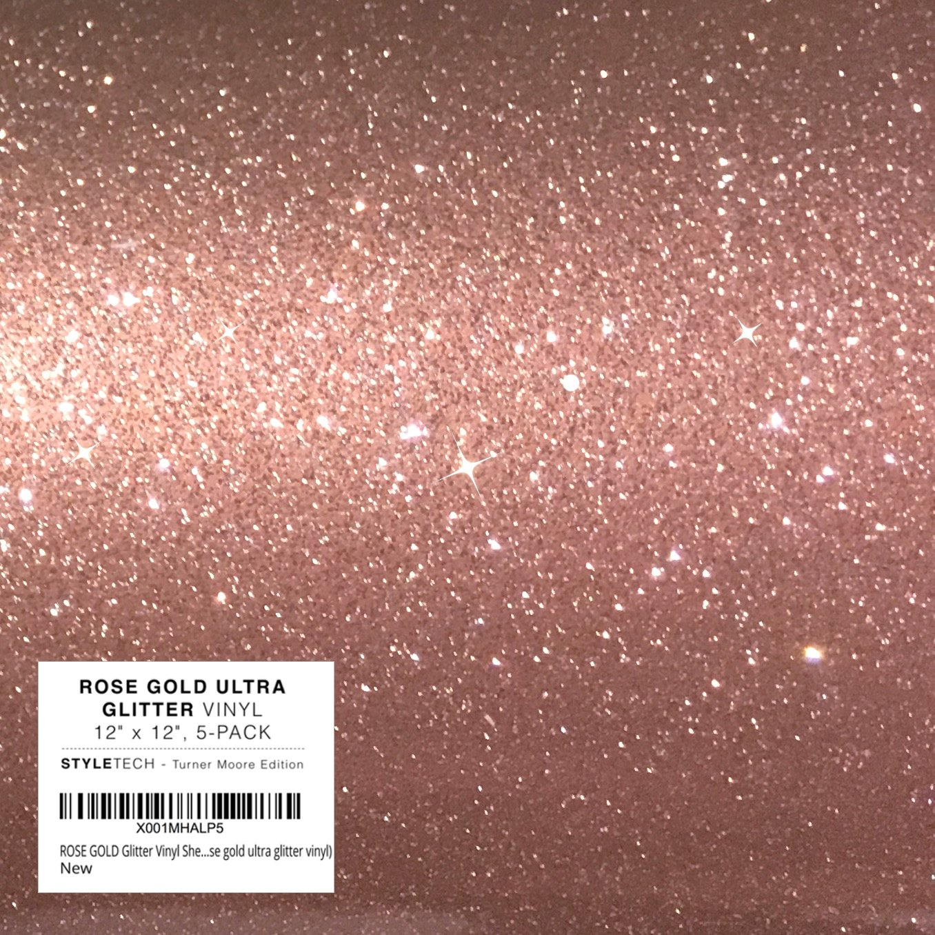 ROSE GOLD Glitter Vinyl Sheets 12 x 12 | 5-Pack Craft Vinyl Adhesive | Cricut Expression Explore, Silhouette Cameo, Signs, Stickers Decals by StyleTech - Turner Moore (rose gold ultra glitter vinyl) TM-ROSE-UL
