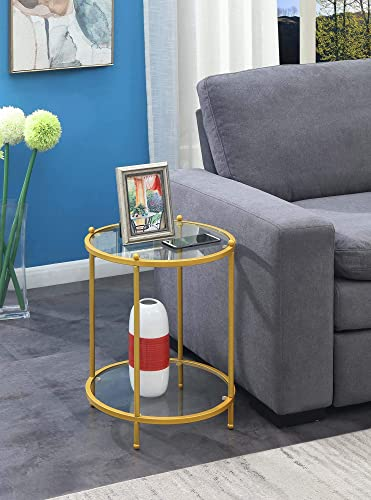 Convenience Concepts Royal Crest 2 Tier Round End Table, Clear Glass Gold