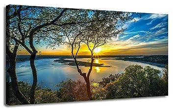 Tableau coucher de soleil et lac 4 810cMggpAZL. SX355